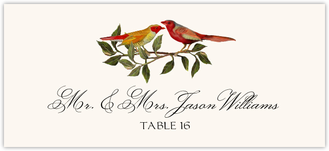 Two Red Birds Place Cards