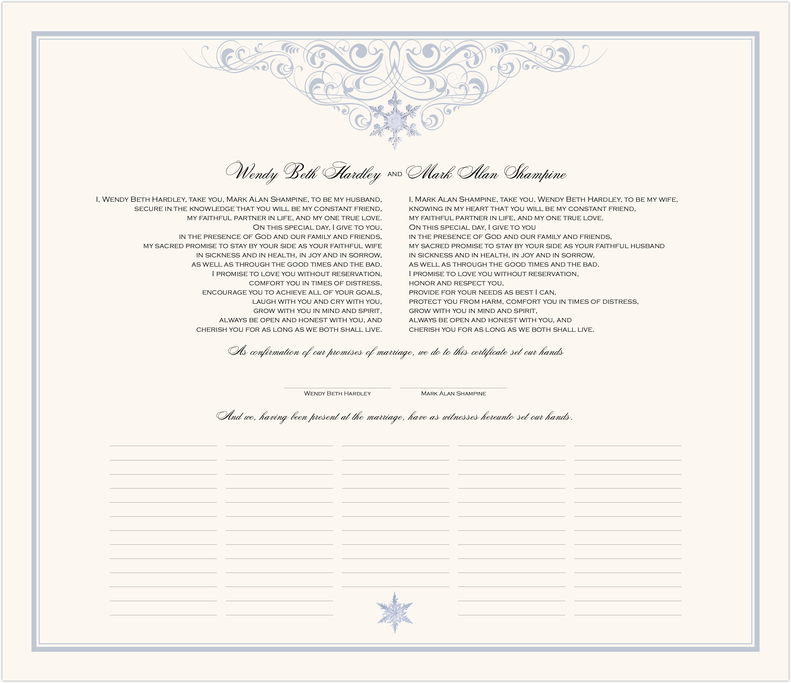 Vintage Snowflake Twist Wedding Certificates