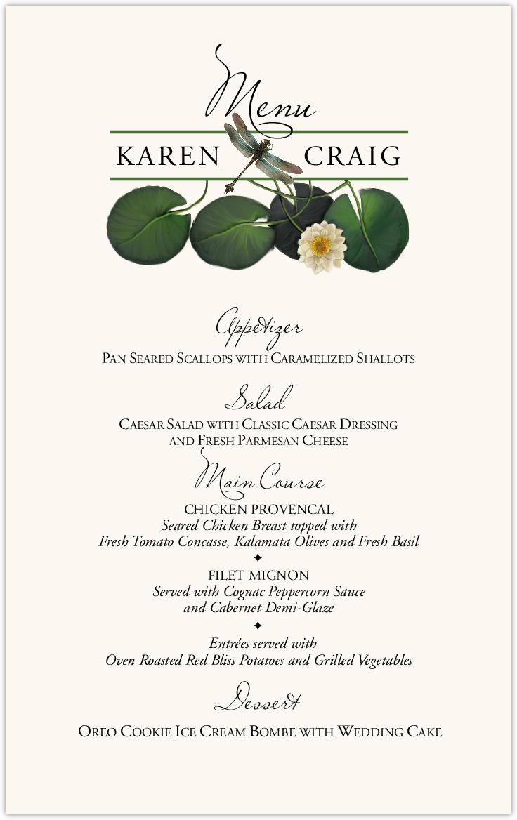 Water Lily Patch Wedding Menus