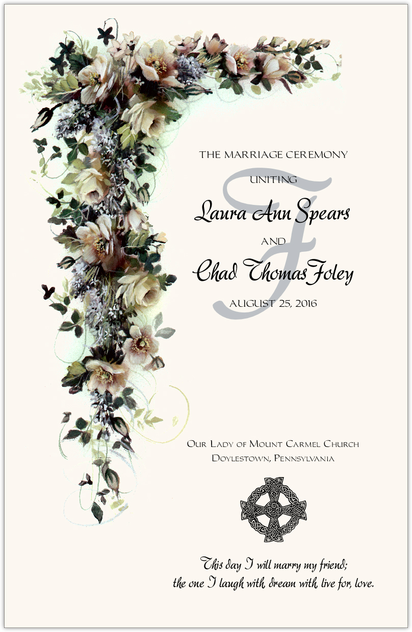 White Rose Cascade Wedding Programs