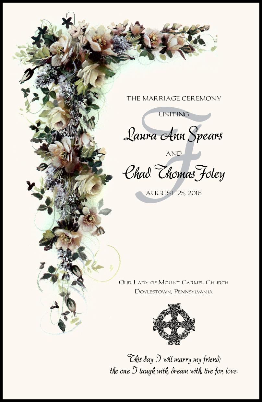 White Rose Cascade Wedding Programs