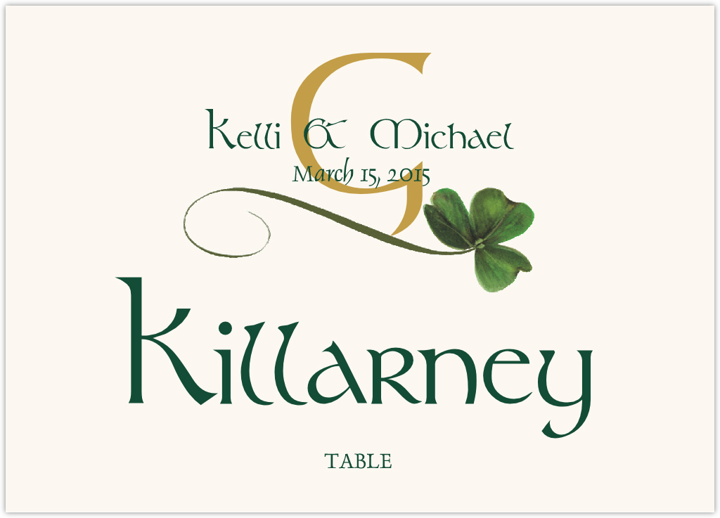 Wispy Shamrock Table Names