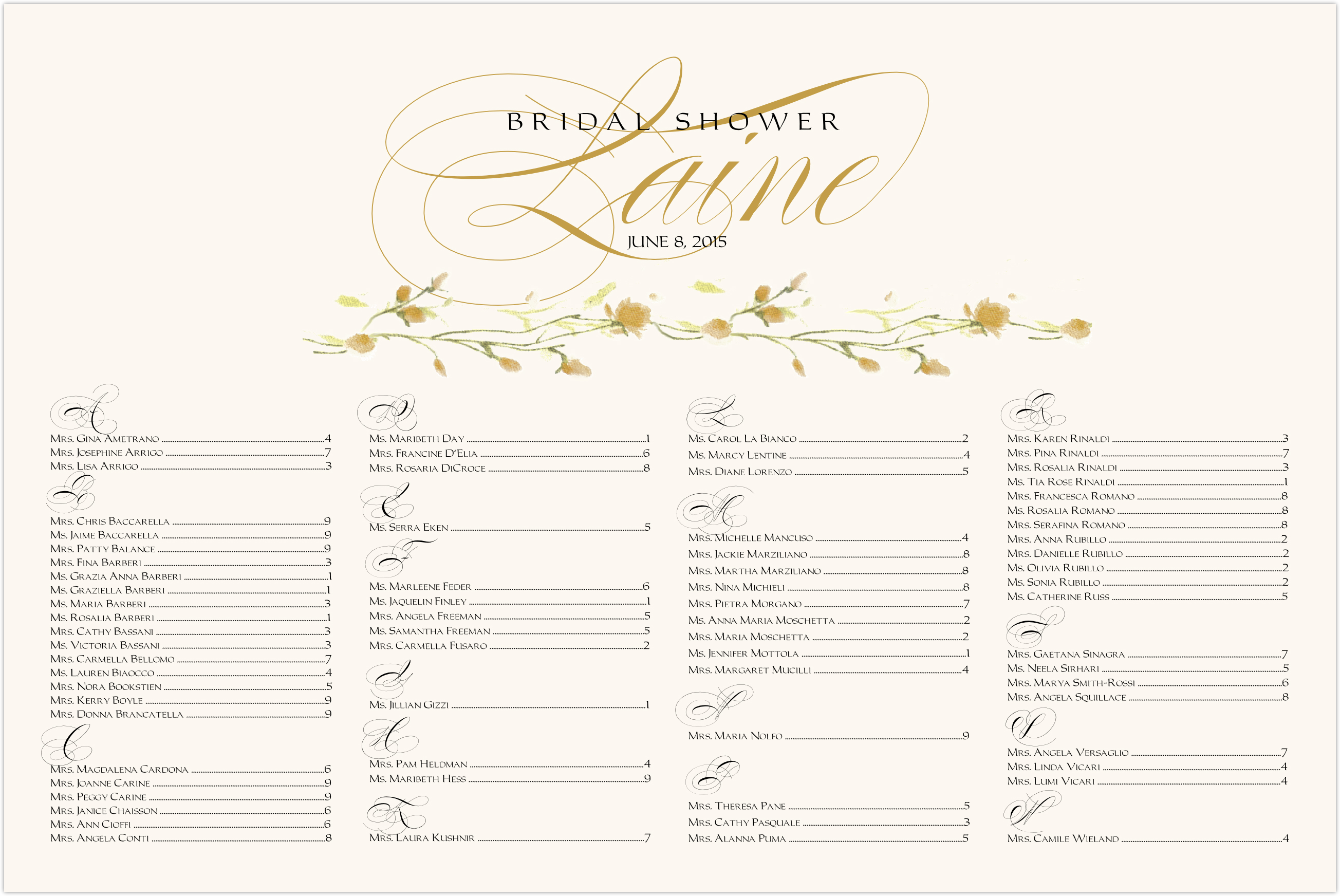 Wispy Yellow Rose Bud Seating Charts