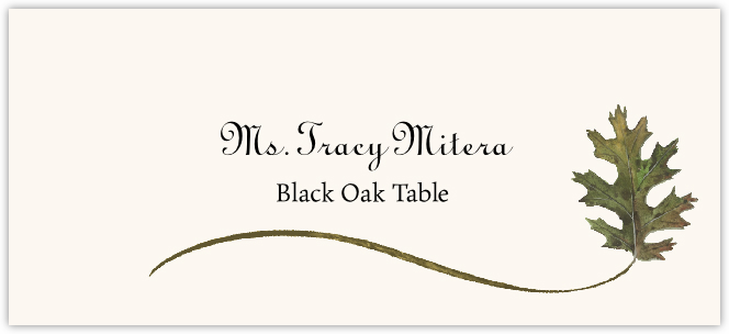 Black Oak Wispy Leaf Place Cards