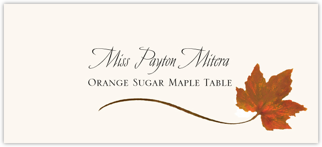 Orange Sugar Maple Wispy Leaf Place Cards