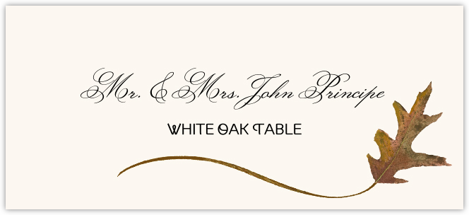 White Oak Wispy Leaf Place Cards