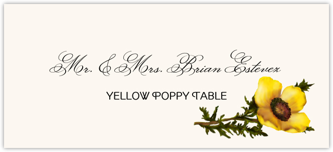 Yellow Poppy Place Cards